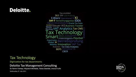 Thumbnail for entry Tax Technology – Digitization for tax departments